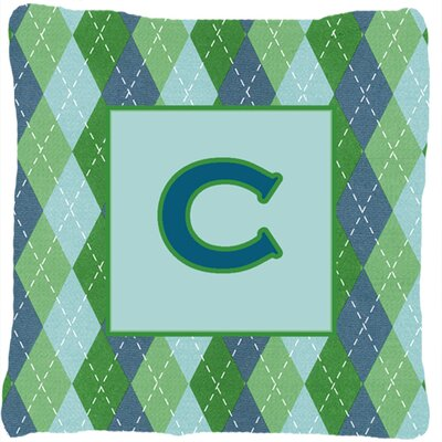 Monogram Initial Blue Argyle Indoor/Outdoor Throw Pillow Letter: C