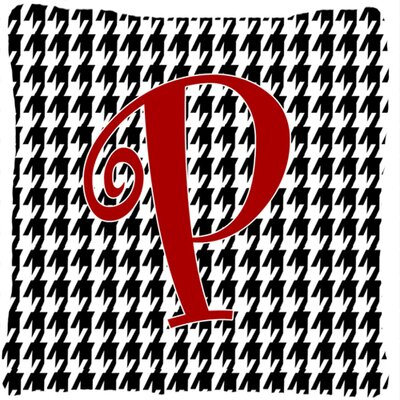 Monogram Initial Houndstooth Black Indoor/Outdoor Throw Pillow Letter: P