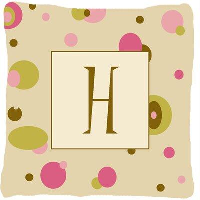 Monogram Initial Tan Dots Indoor/Outdoor Throw Pillow Letter: H