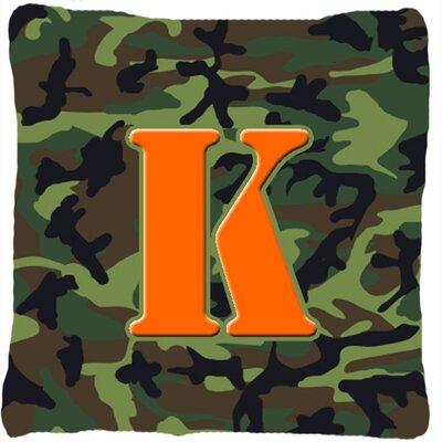 Monogram Initial Camo Indoor/Outdoor Throw Pillow Letter: K