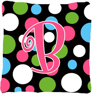 Monogram Initial Polkadots Indoor/Outdoor Throw Pillow Letter: B