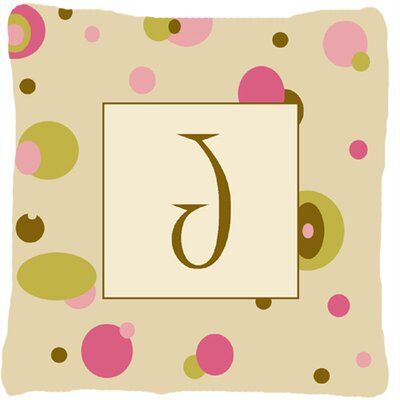 Monogram Initial Tan Dots Indoor/Outdoor Throw Pillow Letter: J