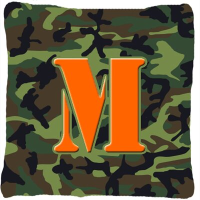 Monogram Initial Camo Indoor/Outdoor Throw Pillow Letter: M