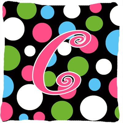 Monogram Initial Polkadots Indoor/Outdoor Throw Pillow Letter: C