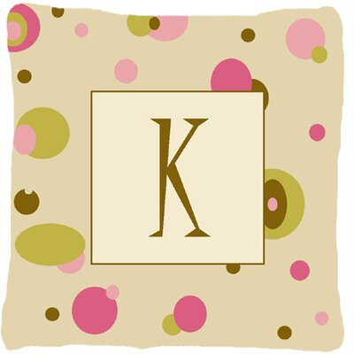 Monogram Initial Tan Dots Indoor/Outdoor Throw Pillow Letter: K