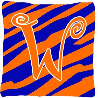 Monogram Initial Tiger Stripe Indoor/Outdoor Throw Pillow Letter: W