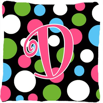 Monogram Initial Polkadots Indoor/Outdoor Throw Pillow Letter: D
