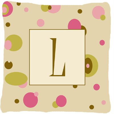 Monogram Initial Tan Dots Indoor/Outdoor Throw Pillow Letter: L
