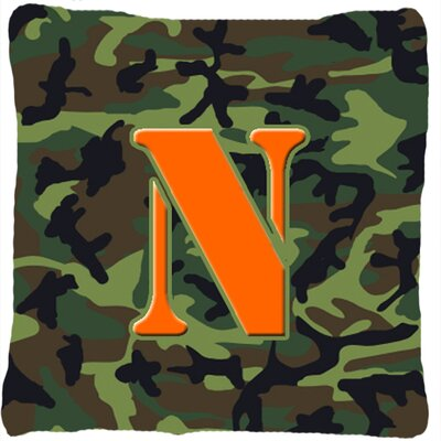 Monogram Initial Camo Indoor/Outdoor Throw Pillow Letter: N