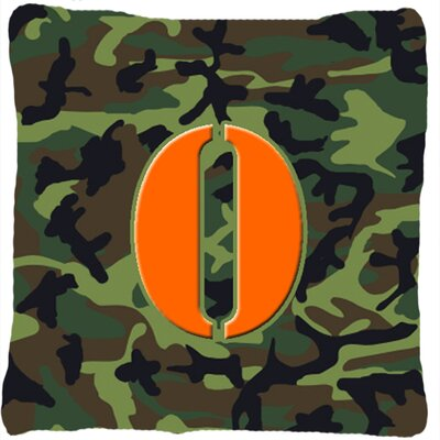 Monogram Initial Camo Indoor/Outdoor Throw Pillow Letter: O