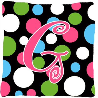 Monogram Initial Polkadots Indoor/Outdoor Throw Pillow Letter: G