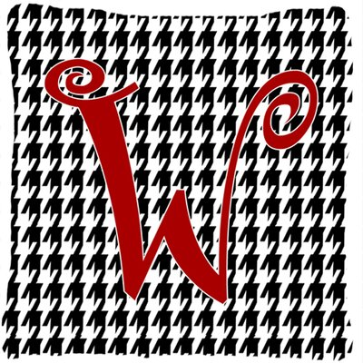 Monogram Initial Houndstooth Black Indoor/Outdoor Throw Pillow Letter: W