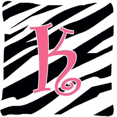 Monogram Initial Zebra Stripe Indoor/Outdoor Throw Pillow Letter: K