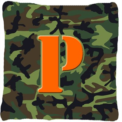 Monogram Initial Camo Indoor/Outdoor Throw Pillow Letter: P