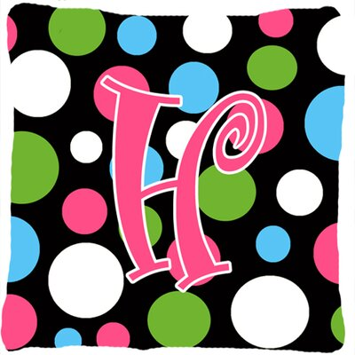 Monogram Initial Polkadots Indoor/Outdoor Throw Pillow Letter: H