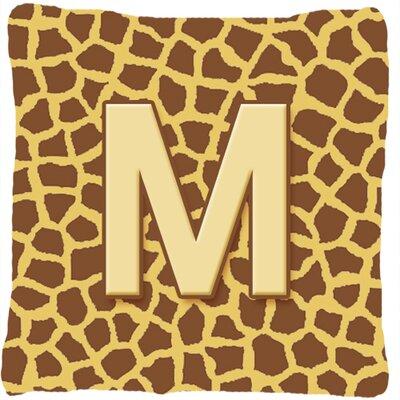 Monogram Initial Giraffe Indoor/Outdoor Throw Pillow Letter: M