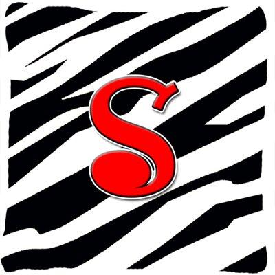 Monogram Initial Zebra Indoor/Outdoor Throw Pillow Letter: S