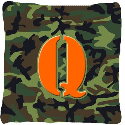 Monogram Initial Camo Indoor/Outdoor Throw Pillow Letter: Q