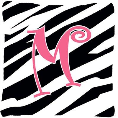 Monogram Initial Zebra Stripe Indoor/Outdoor Throw Pillow Letter: M