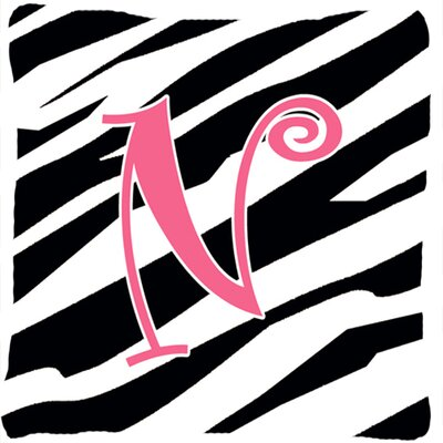 Monogram Initial Zebra Stripe Indoor/Outdoor Throw Pillow Letter: N