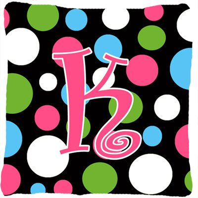 Monogram Initial Polkadots Indoor/Outdoor Throw Pillow Letter: K