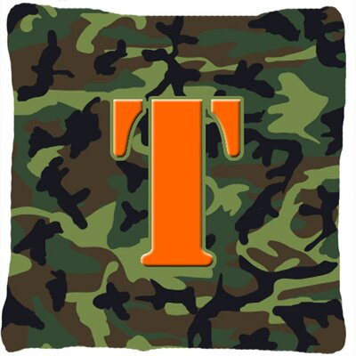 Monogram Initial Camo Indoor/Outdoor Throw Pillow Letter: T