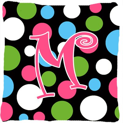 Monogram Initial Polkadots Indoor/Outdoor Throw Pillow Letter: M
