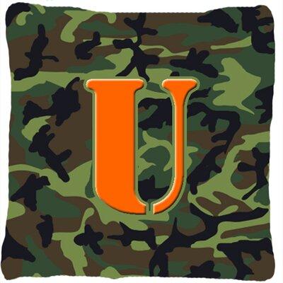Monogram Initial Camo Indoor/Outdoor Throw Pillow Letter: U