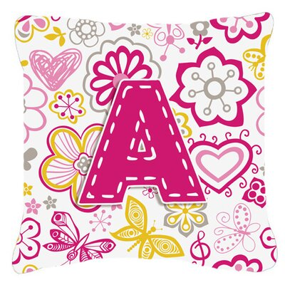 Letter Flowers and Butterflies Monogram Indoor/Outdoor Throw Pillow
