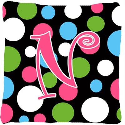 Monogram Initial Polkadots Indoor/Outdoor Throw Pillow Letter: N