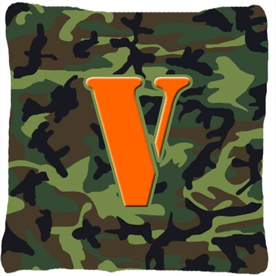 Monogram Initial Camo Indoor/Outdoor Throw Pillow Letter: V