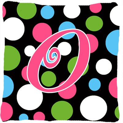 Monogram Initial Polkadots Indoor/Outdoor Throw Pillow Letter: O