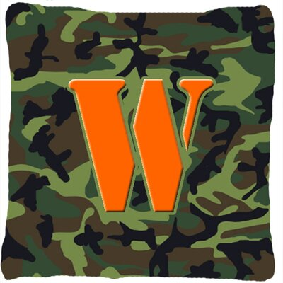 Monogram Initial Camo Indoor/Outdoor Throw Pillow Letter: W