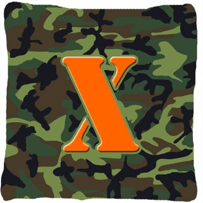 Monogram Initial Camo Indoor/Outdoor Throw Pillow Letter: X