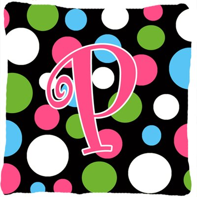 Monogram Initial Polkadots Indoor/Outdoor Throw Pillow Letter: P