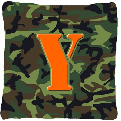 Monogram Initial Camo Indoor/Outdoor Throw Pillow Letter: Y