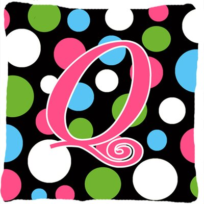 Monogram Initial Polkadots Indoor/Outdoor Throw Pillow Letter: Q