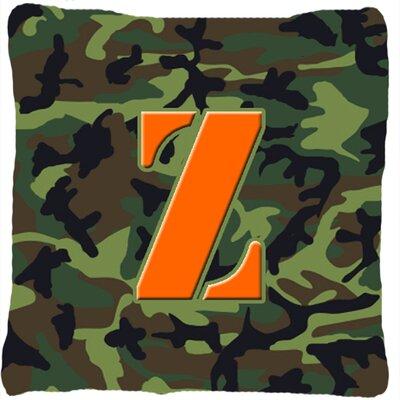 Monogram Initial Camo Indoor/Outdoor Throw Pillow Letter: Z