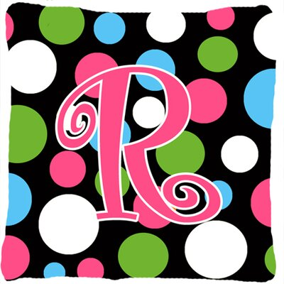 Monogram Initial Polkadots Indoor/Outdoor Throw Pillow Letter: R