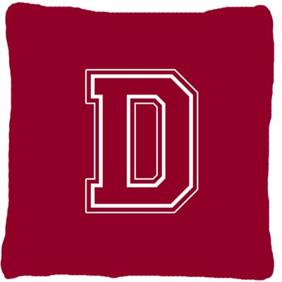 Monogram Initial Maroon and White Indoor/Outdoor Throw Pillow Letter: D