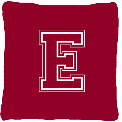 Monogram Initial Maroon and White Indoor/Outdoor Throw Pillow Letter: E
