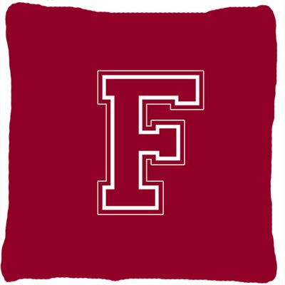 Monogram Initial Maroon and White Indoor/Outdoor Throw Pillow Letter: F