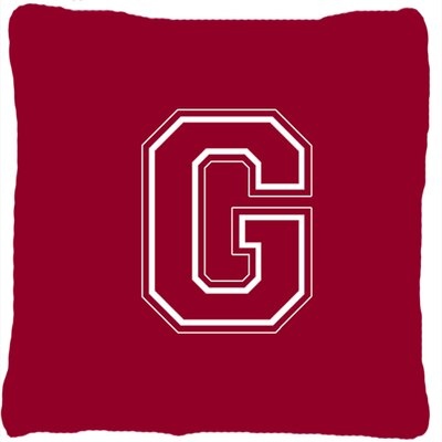 Monogram Initial Maroon and White Indoor/Outdoor Throw Pillow Letter: G