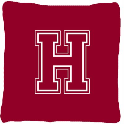 Monogram Initial Maroon and White Indoor/Outdoor Throw Pillow Letter: H