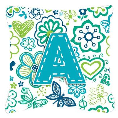 Monogram Letter Flowers and Butterflies Teal Blue Indoor/Outdoor Throw Pillow