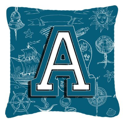 Monogram Initial Sea Doodles Indoor/Outdoor Throw Pillow