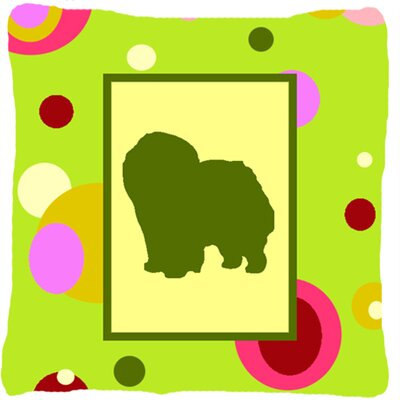 Chow Chow Polka Dots Green Indoor/Outdoor Throw Pillow