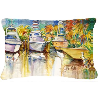 Blue Heron and Deep Sea Fishing Boats Indoor/Outdoor Throw Pillow