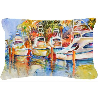 Deep Sea Fishing Boats at The Dock Indoor/Outdoor Throw Pillow