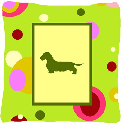 Dachshund Polka Dots Square Green Indoor/Outdoor Throw Pillow